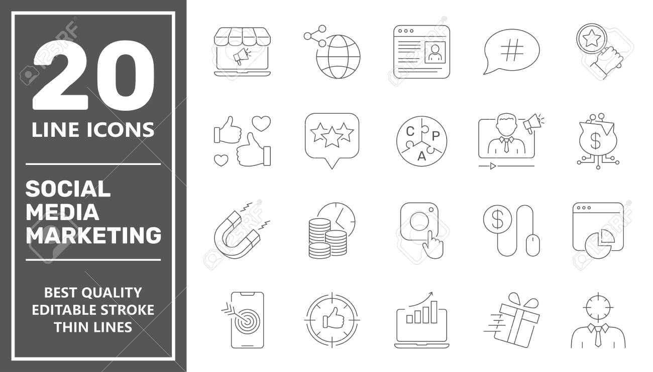 SMM icons set collection. Includes simple elements such as Content, Video Marketing, Copywriting, Ad Targeting, Audience Marketing, Blogging and Landing Page. Editable Stroke. - 145410814