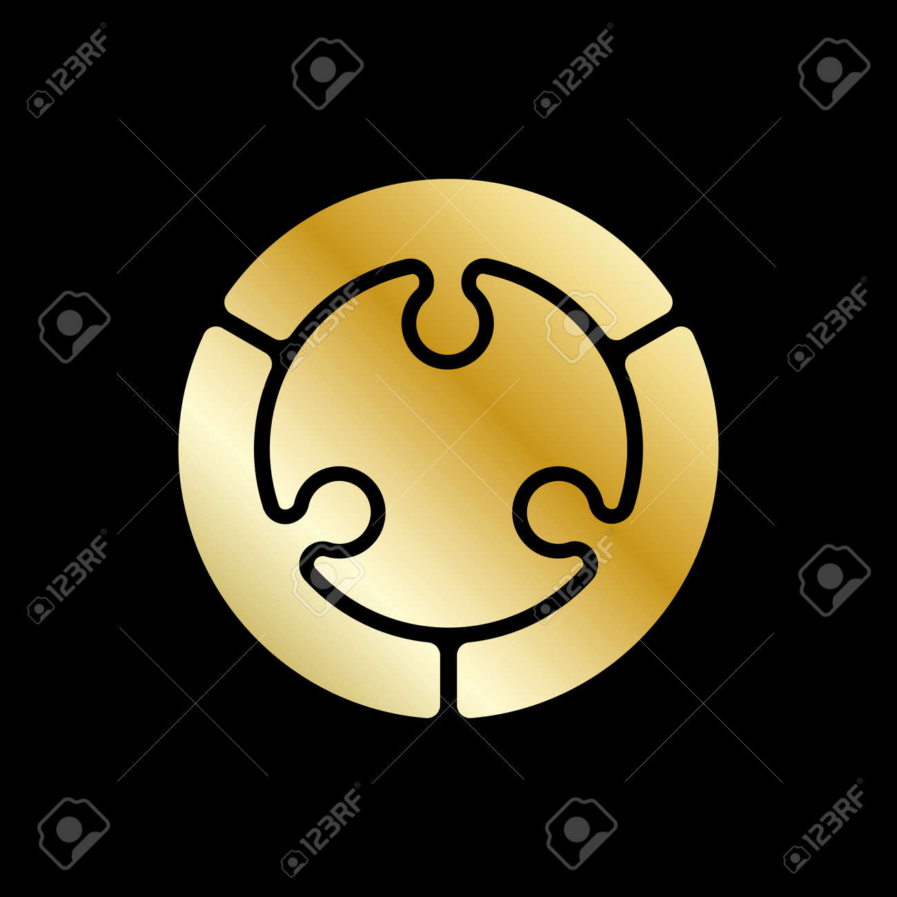 Vector abstract circle design element. Golden color. - 145260497