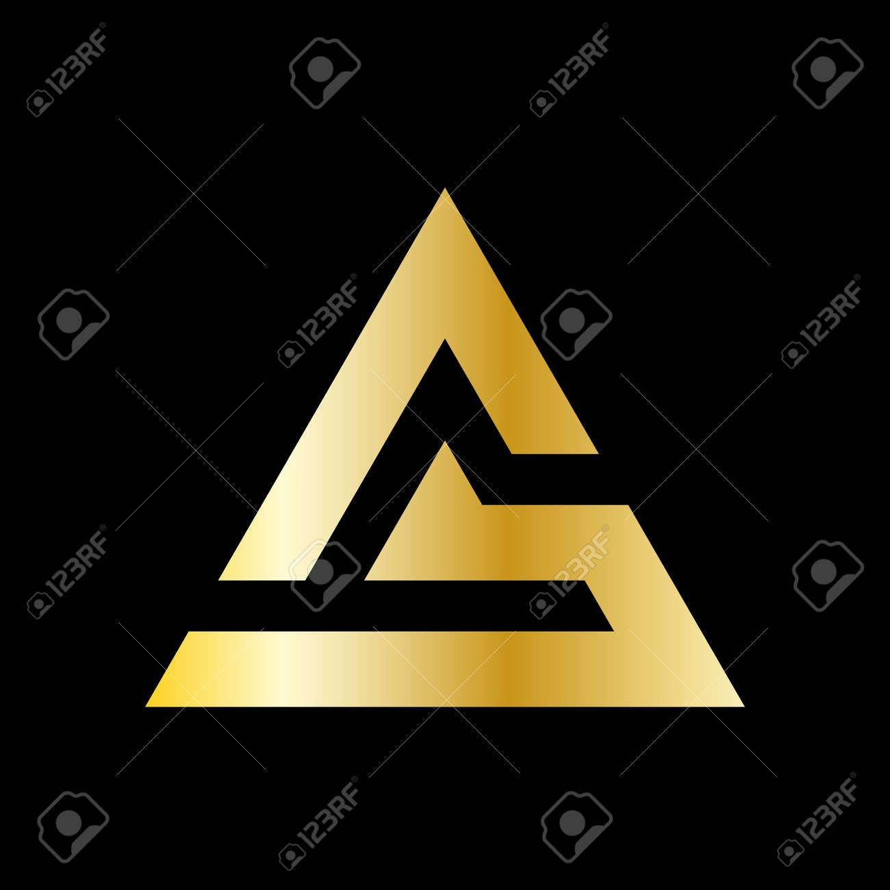 Simple triangle vector in a modern style and golden color. - 145260487