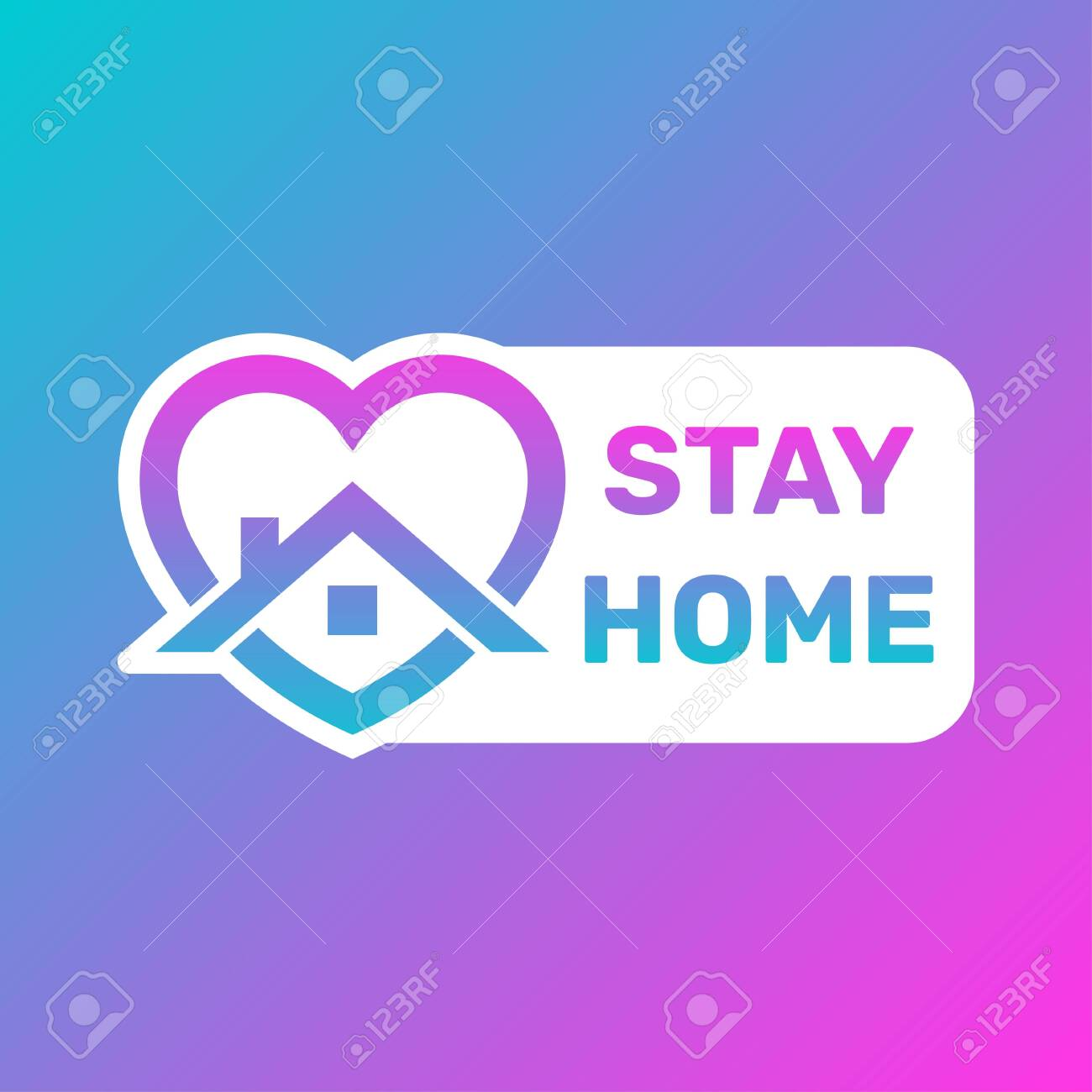 Stay Home Icon and Button, Stay home sticker story, House with heart shape, love stay at home care symbol, vector illustration isolated on white background in trendy style. - 145260490