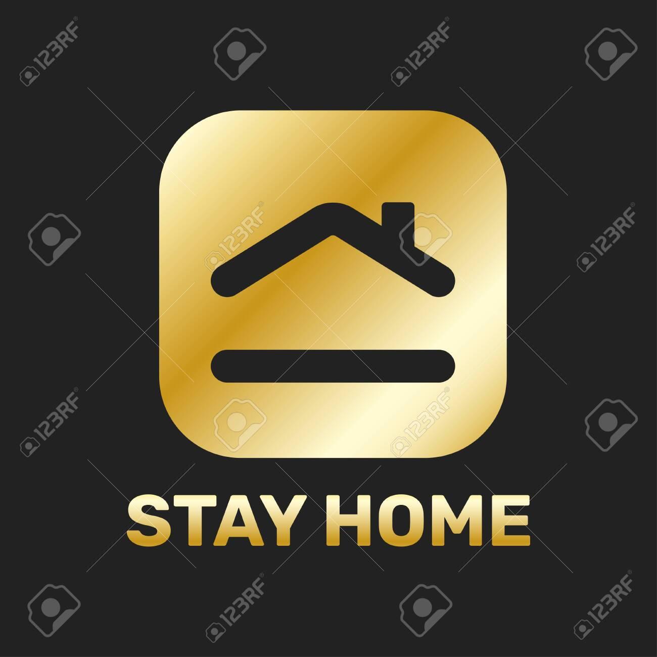 Stay home sticker icon for quarantine company coronavirus covid in golden color. - 145260492