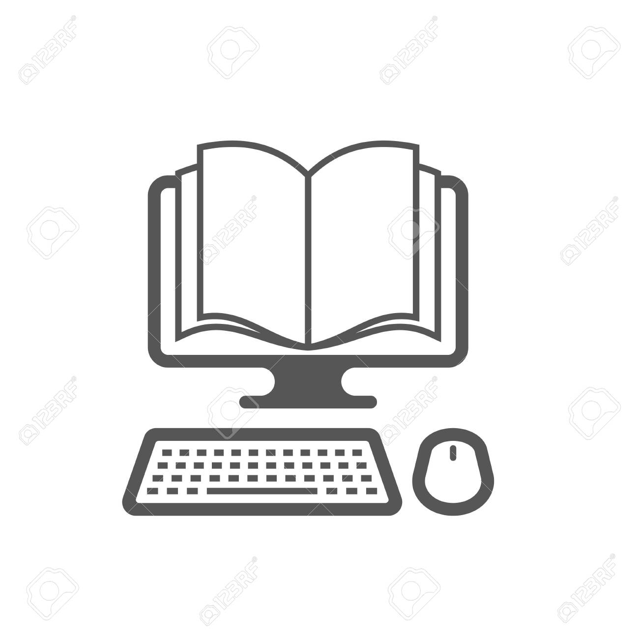 Vector template. Reading books on the Internet, E-reading, Internet library, online book store, remote education. EPS 10. - 145850092