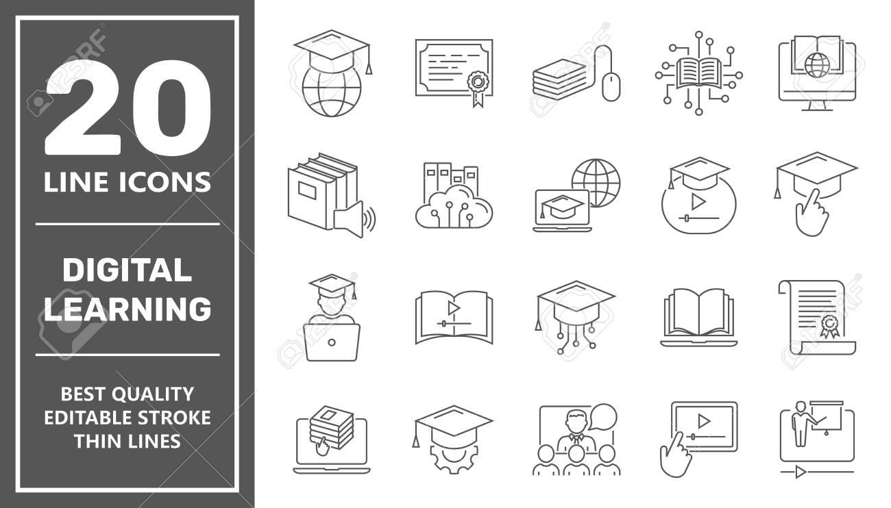 Online education line icon set. Digital learning, remote education concept. Editable Stroke. EPS. - 145793849