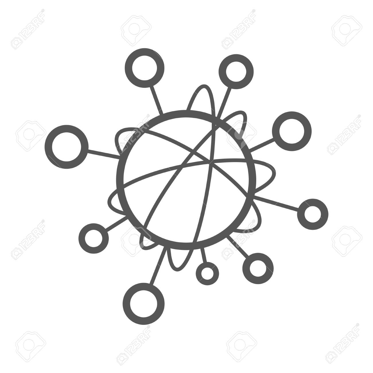 Simple line icon to represent the Internet of Things IoT concept. A network of objecs such as devices connected to each other on the internet. Editable Stroke. EPS 10. - 145850096