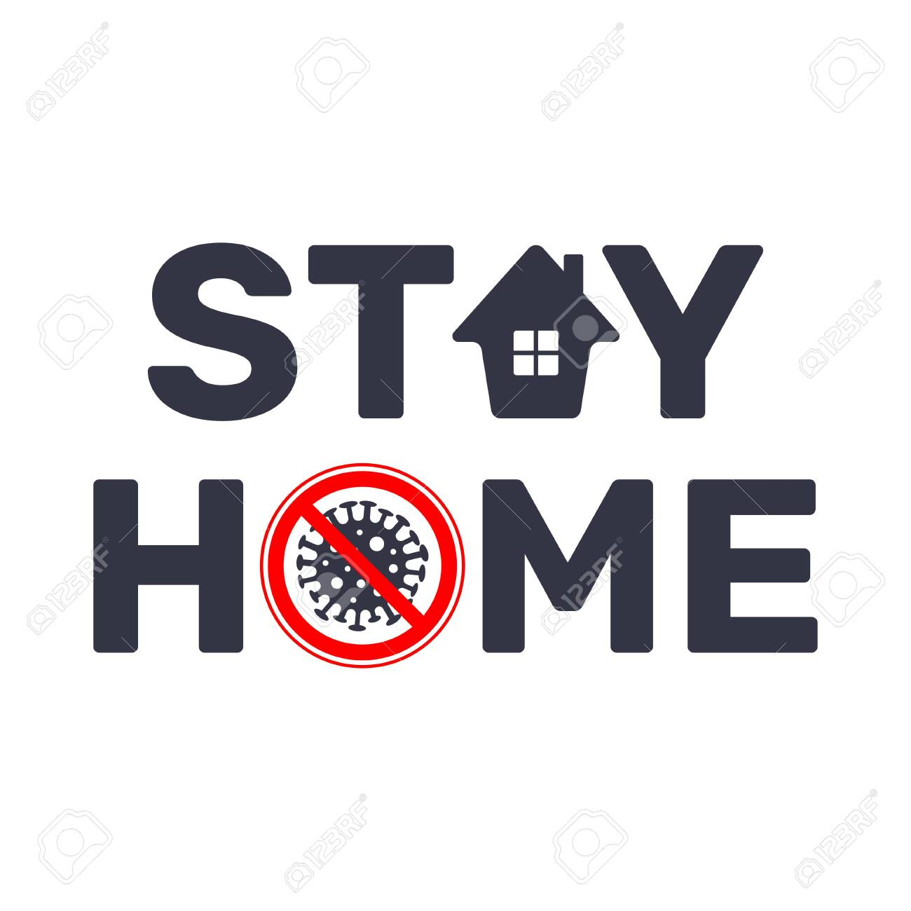 Stay at home slogan with house and stop sign virus. Protection campaign or measure from coronavirus, COVID--19. Stay home quote text, hash tag or hashtag. Coronavirus, COVID 19 protection . EPS 10. - 145850099