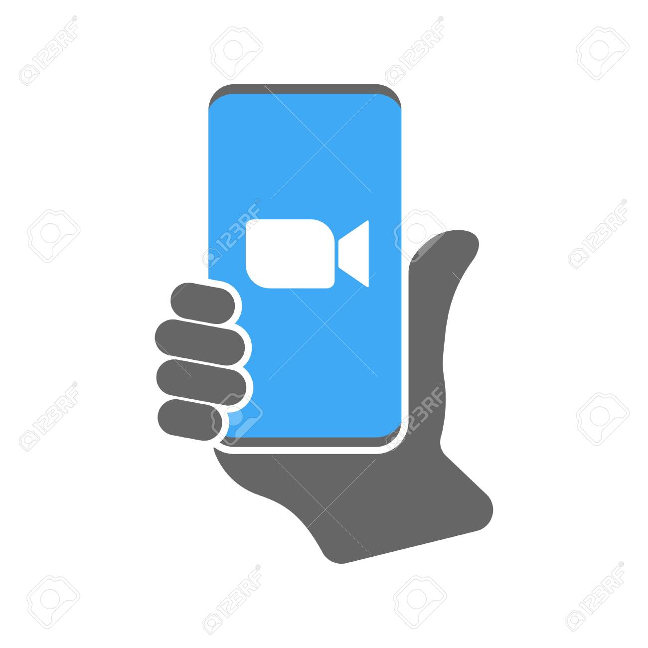 Camera icon on smartphone. Vector Illustration. EPS 10. - 145800171