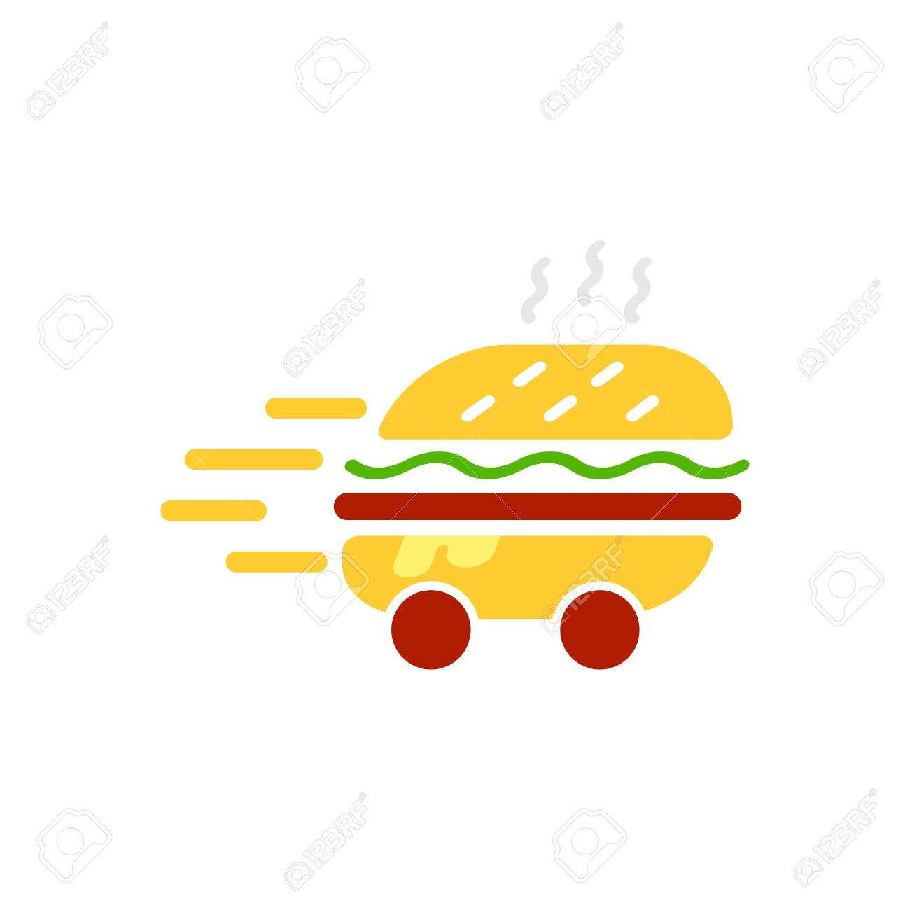 Burger delivery service logo vector template illustration. Express delivery concept. Hamburger delivery icon. EPS 10 - 146985290