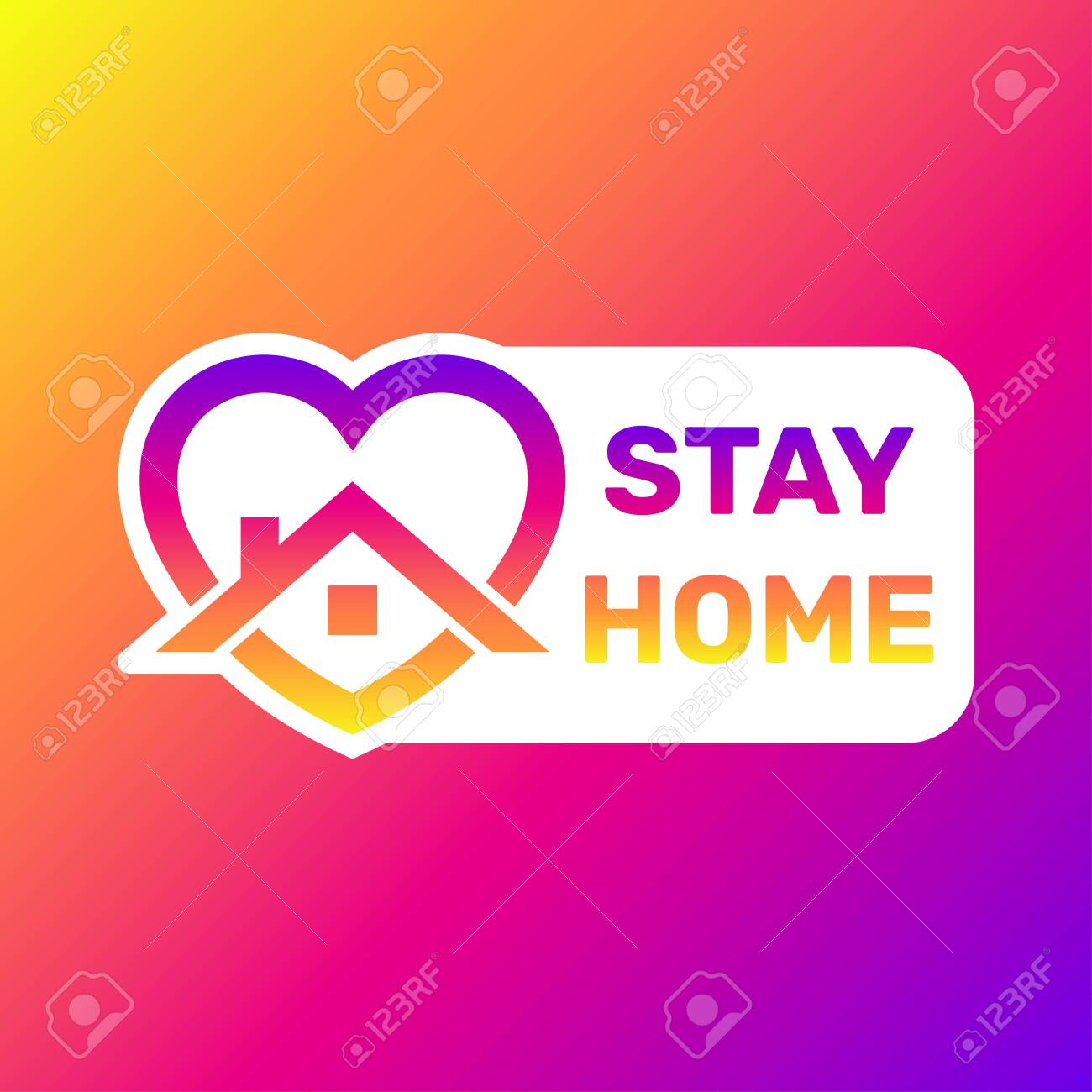 Stay home sticker. House with heart shape, love stay at home care symbol, vector illustration. - 147130318