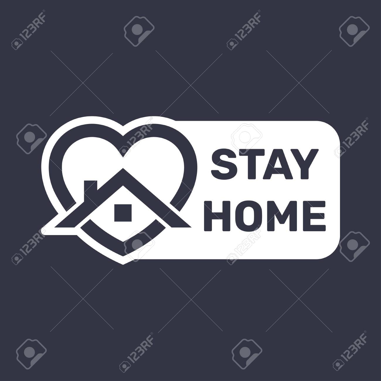 Stay at home. COVID 19 or coronavirus protection campaign logo. - 147130317