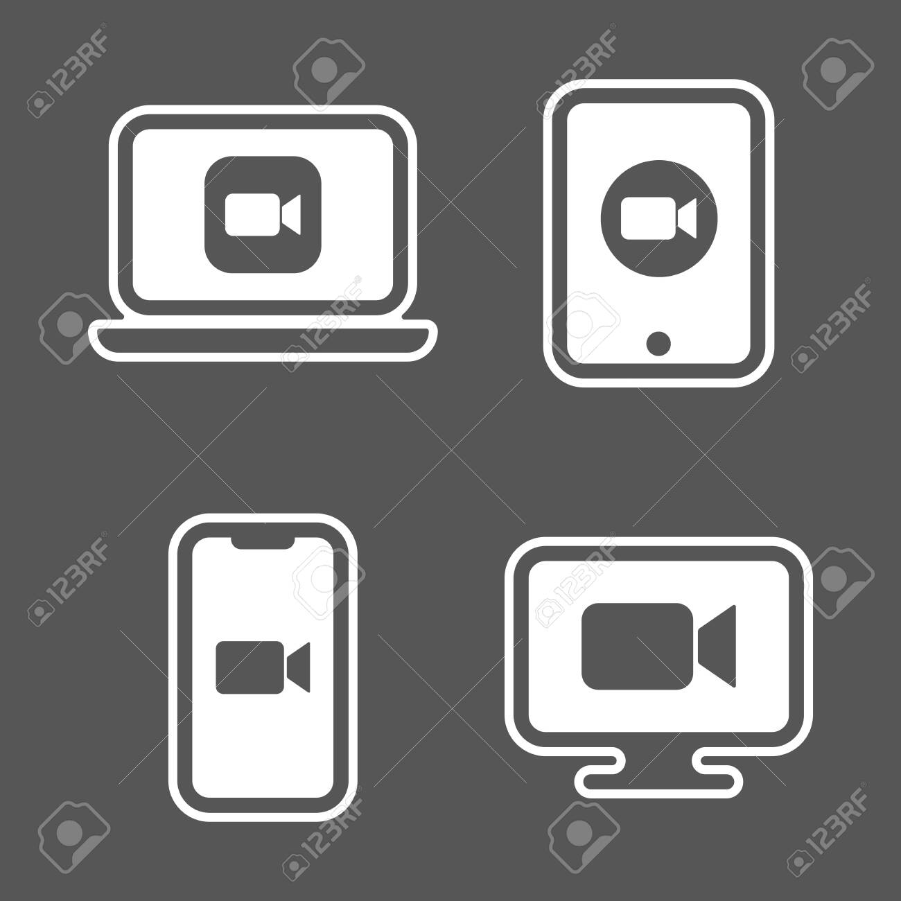 Blue camera icons - Camera app icons on different gadgets. - 147130352