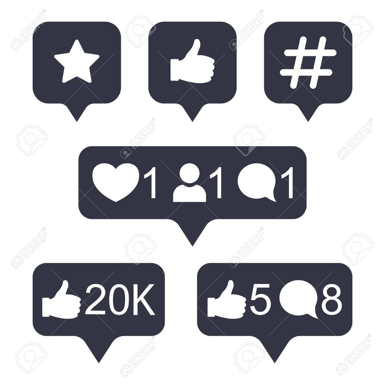 Social media modern button in golden gradient color. Like, follower, comment button, icon, symbol, ui, app, web. Vector illustration. - 147130327