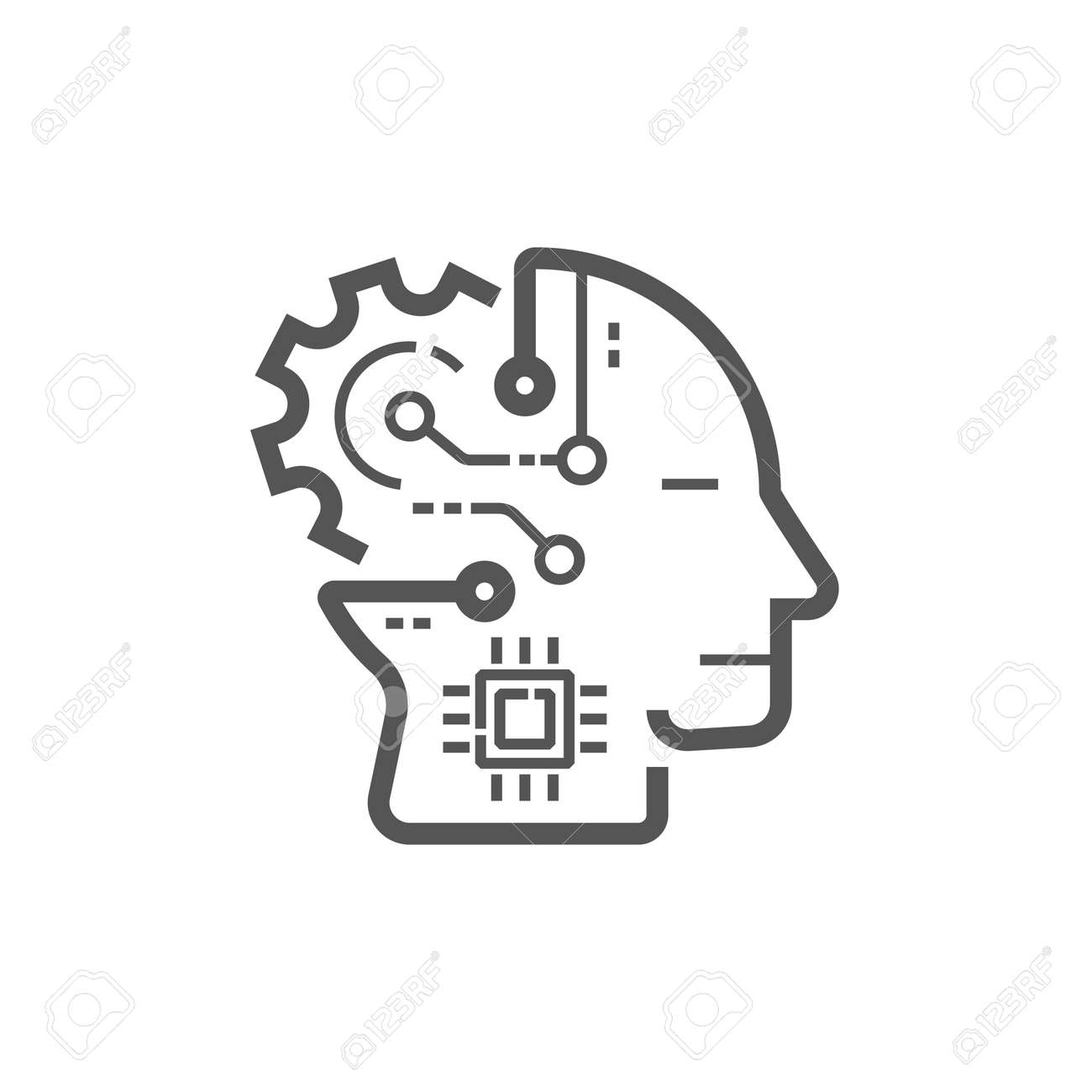 Artificial Intelligence. The image of human head with integration - 157121147