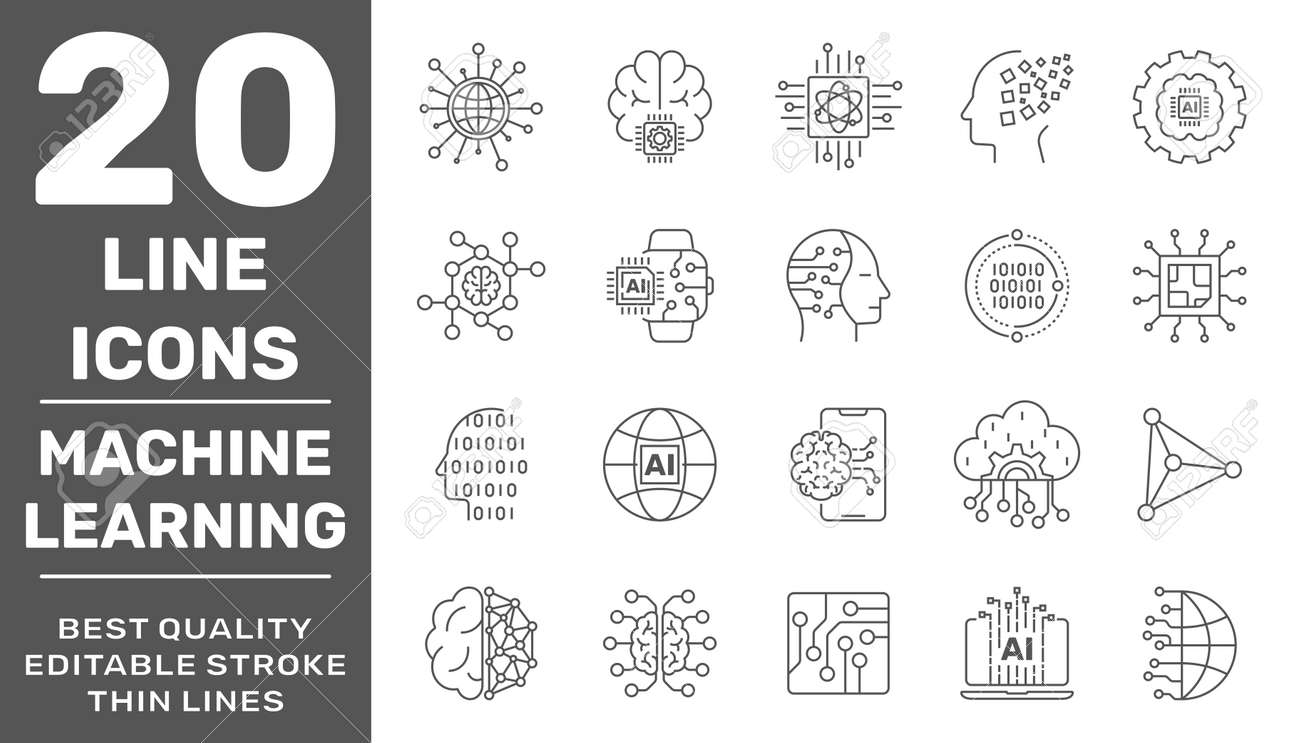 Simple set of artificial intelligence and machine learning related line icons contains such icons as droid, chip, brain, AI, IoT. Editable Stroke - 158286829