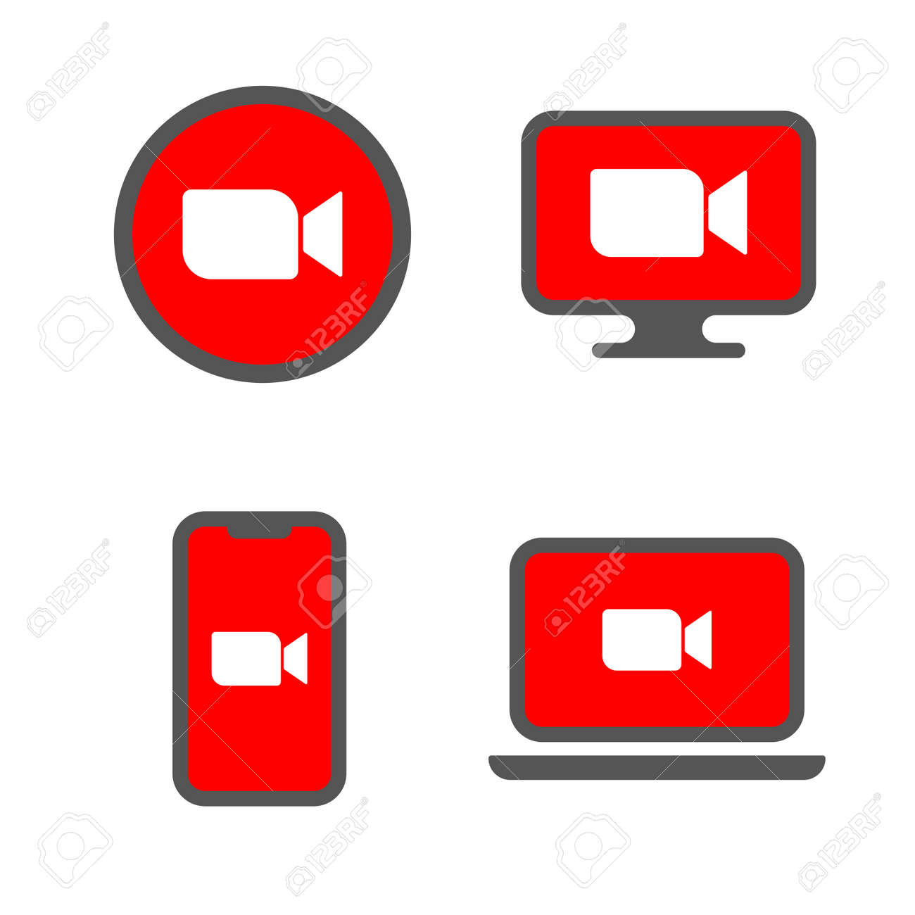 Online Virtual Meetings, Work from Home. Teleconference TV Video Conference Webinars or Remote Working. Enterprise Web Cloud Service Software Concept. EPS 10 - 158148462