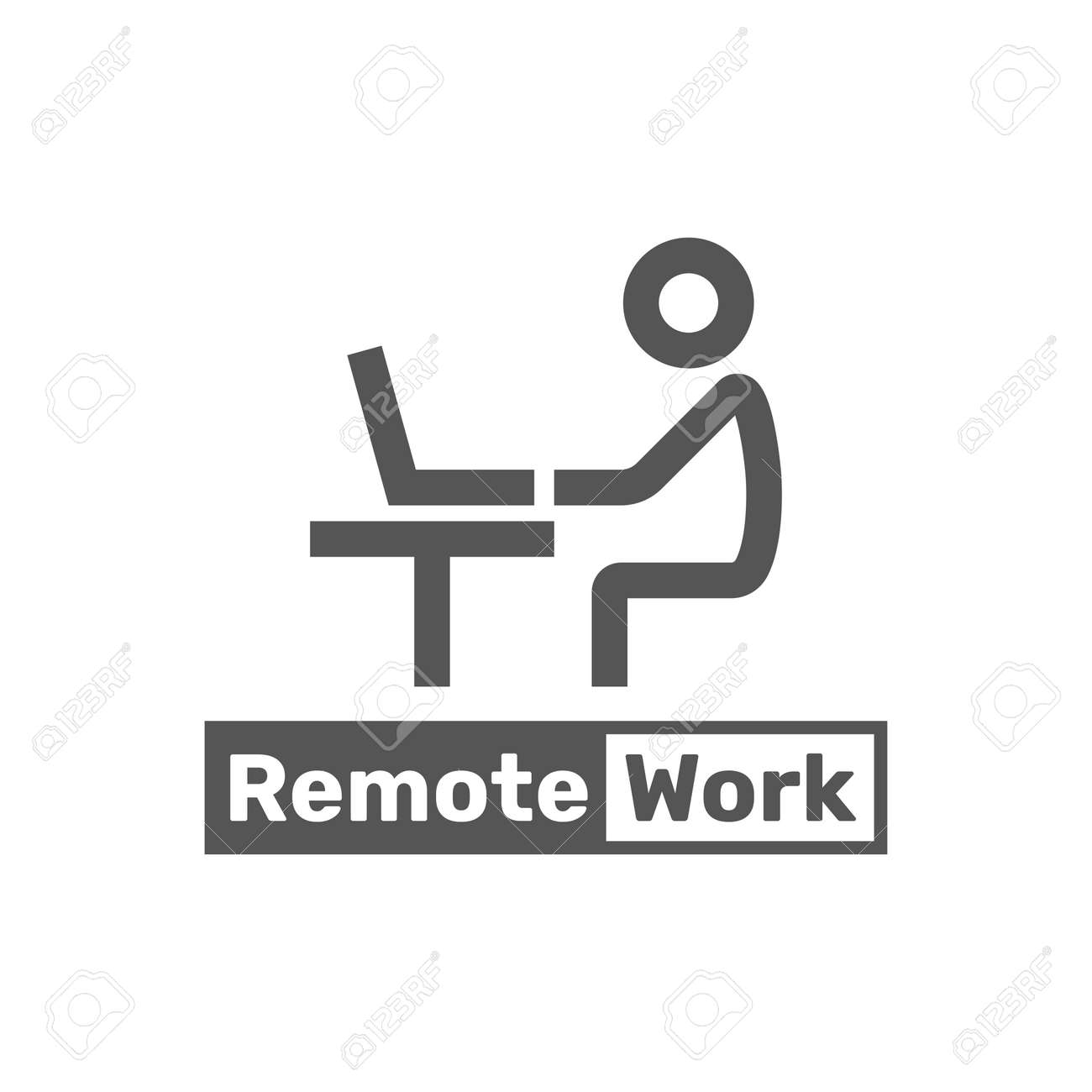 Remote work line icon. Worker, laptop, remote job. Freelance job line icon. Vector illustration can be used for topics like life work balance, remote job, occupation - 158286768