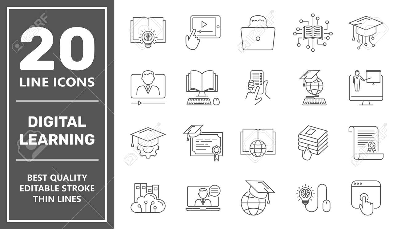 E-learning, online education elements - minimal thin line web icon set. Outline icons collection. Simple vector illustration. Editable Stroke. - 160134711