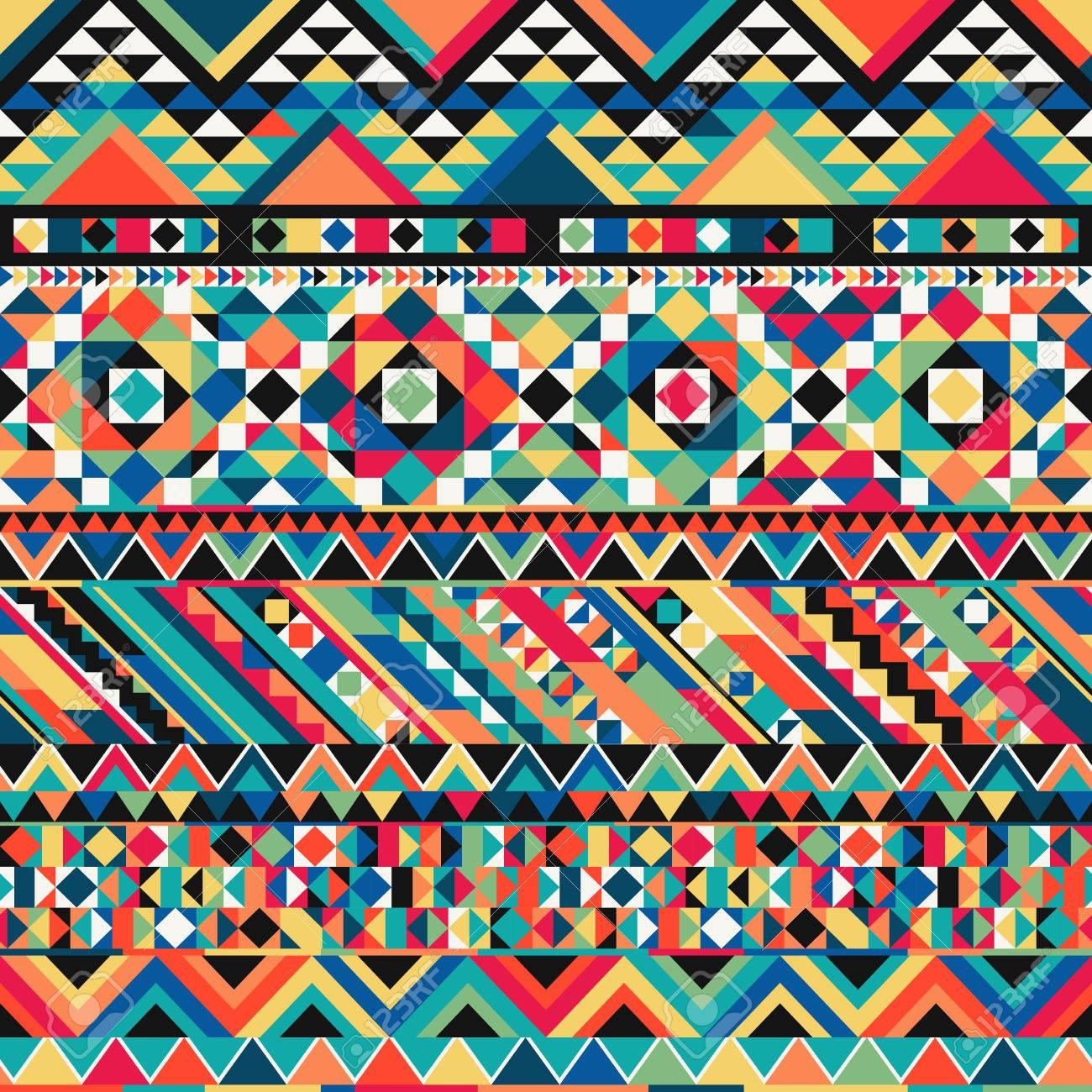 Azteca Antiguo De La Tela De Colores Fondo Ornamental Textil