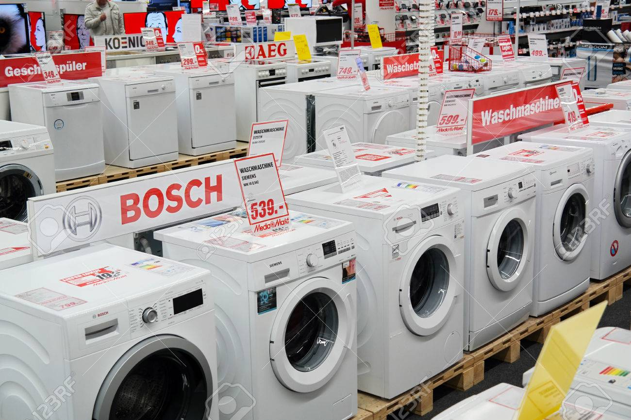 MEPPEN, GERMANY - FEBRUARY 2015: Branch of Media Markt, a German chain of stores selling consumer electronics with numerous at branches Throughout Europe and Asia. It is Europe's largest retailer of consumer electronics. - 54316473