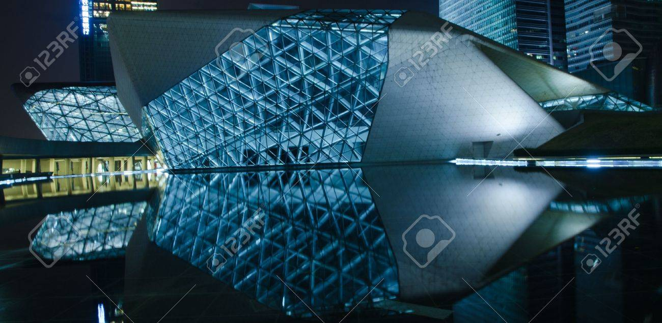 Guangzhou, China - Nov. 05: Guangzhou Opera House night  landscape on Nov. 05, 2011 in Guangzhou, China. It is designed by architect Zaha Hadid and has become one of the seven new landmarks in Guangzhou Stock Photo - 11729036
