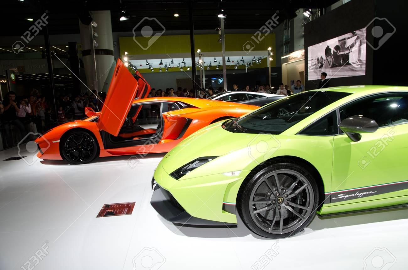 GUANGZHOU, CHINA - Nov 26: Lamborghini Gallardo LP 570-4 Superleggera sport car on display at the 9th China international automobile exhibition. on November 26, 2011 in Guangzhou China. Stock Photo - 11729067
