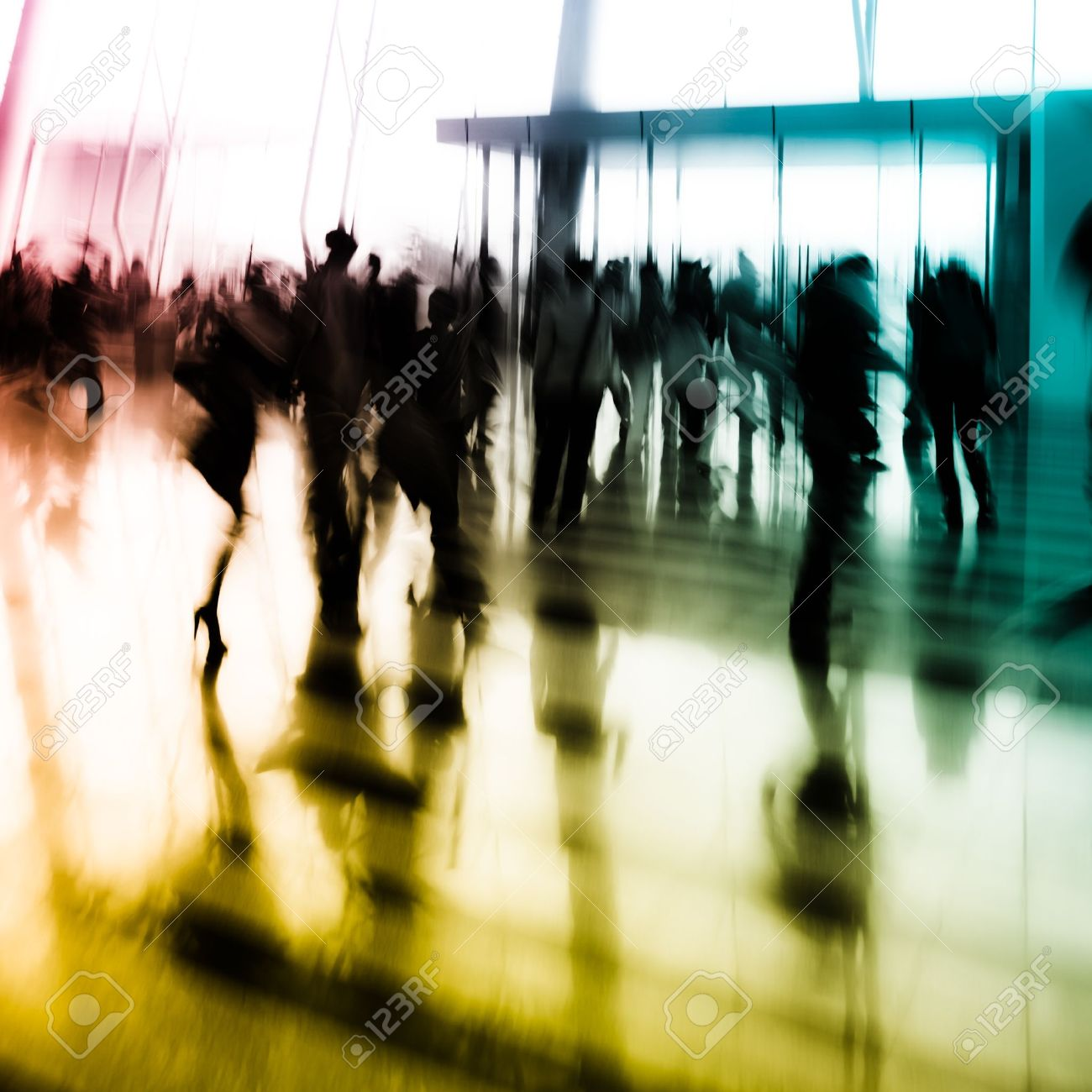 city business people abstract background blur motion Stock Photo - 11728242