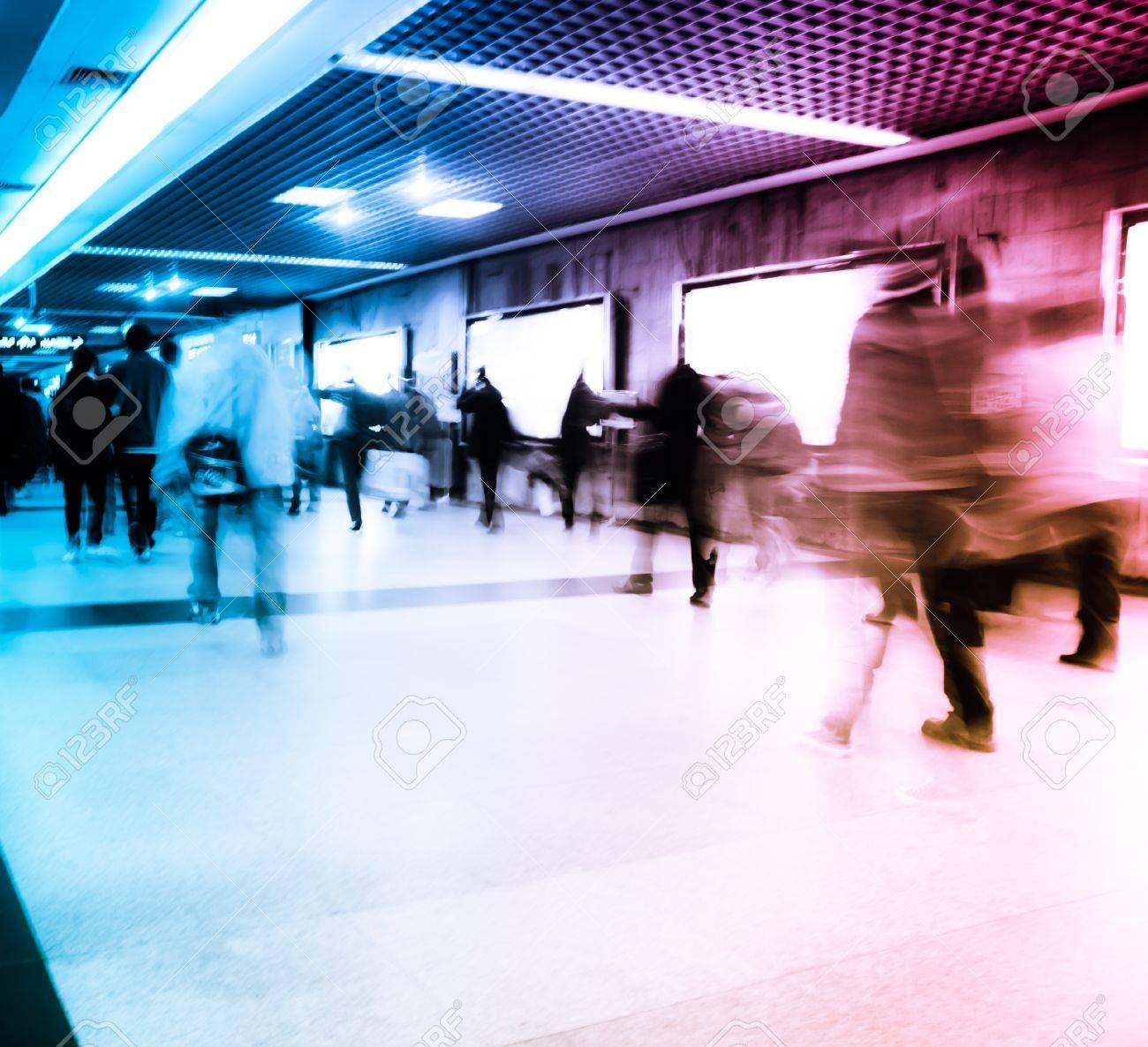 Business passenger walk at subway station at intentional motion blurred Stock Photo - 11911305