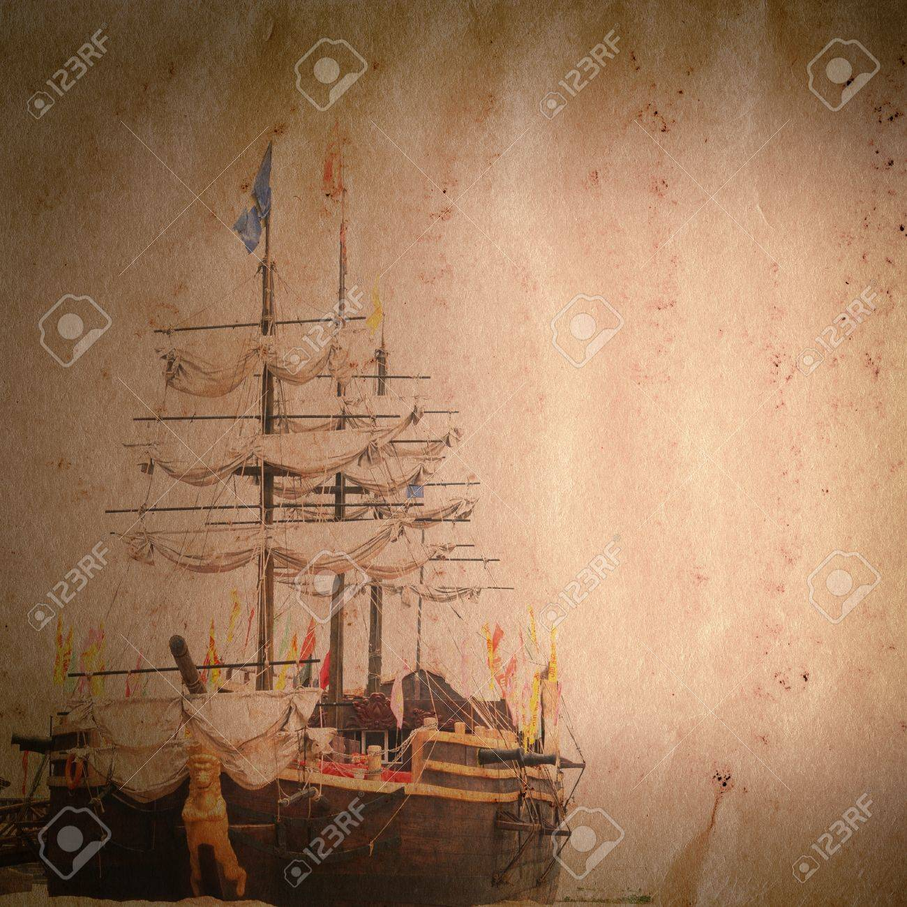 old sail ship on grunge paper texture background Stock Photo - 13463456