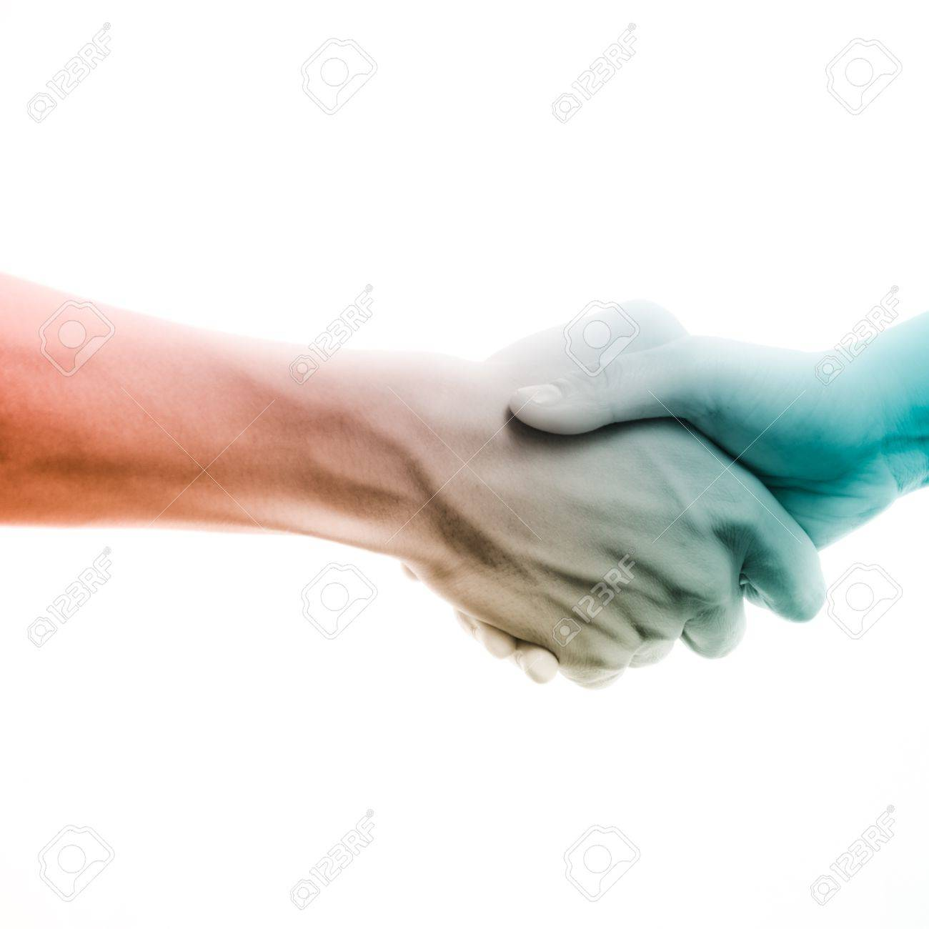 business man and woman shaking hands, isolated on white Stock Photo - 15486633