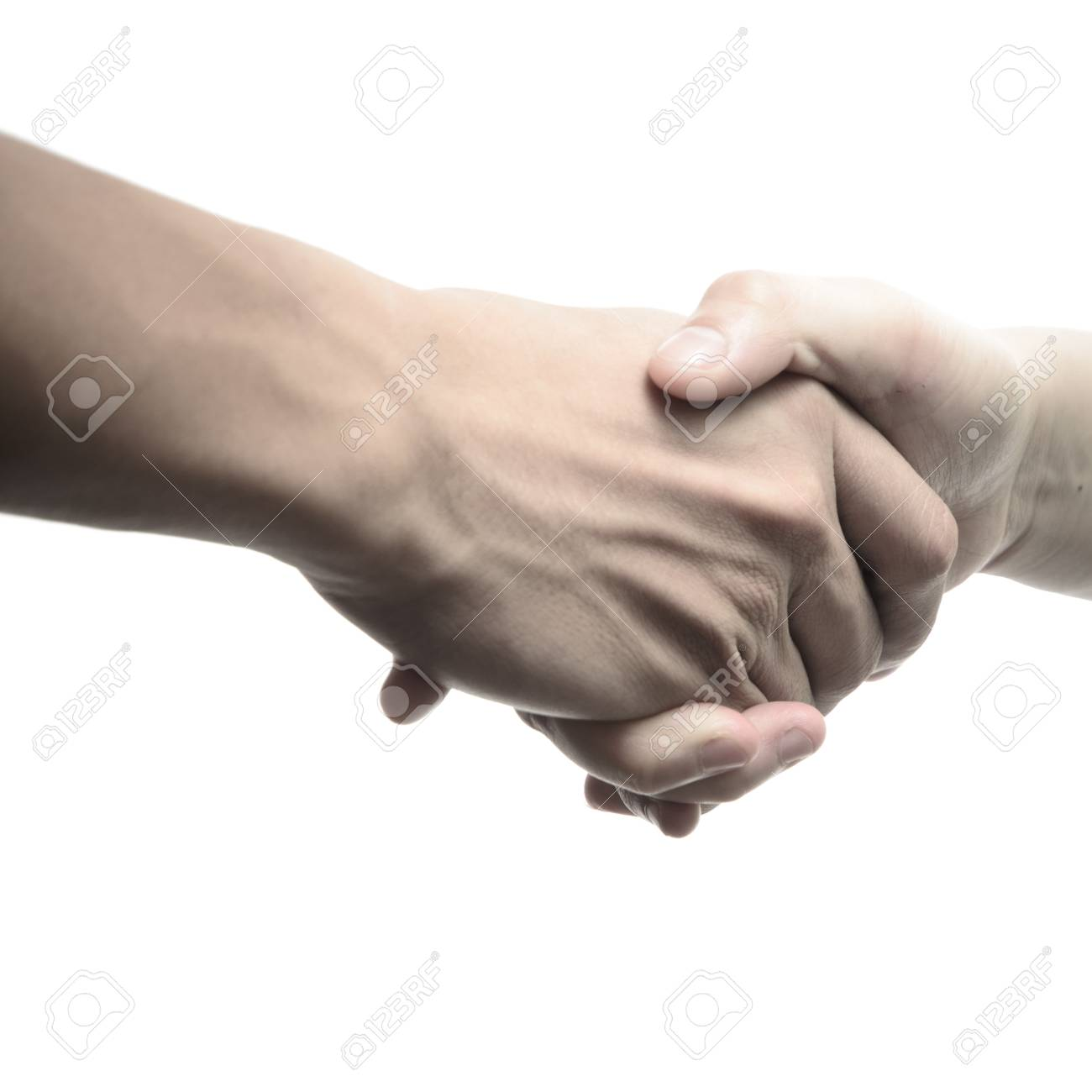 business man and woman shaking hands, isolated on white Stock Photo - 16447531