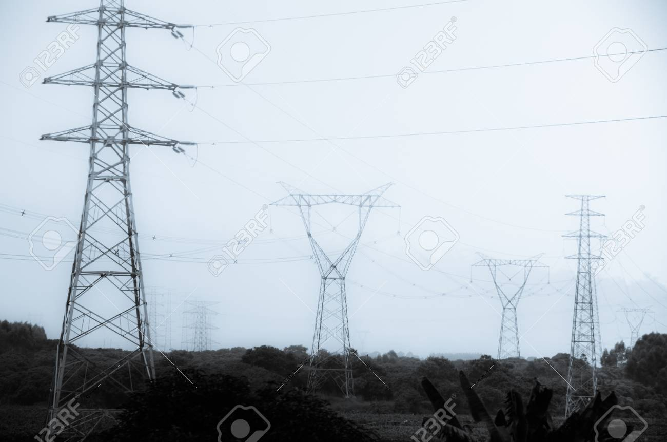 high voltage post energy transmission distribution tower Stock Photo - 18282282