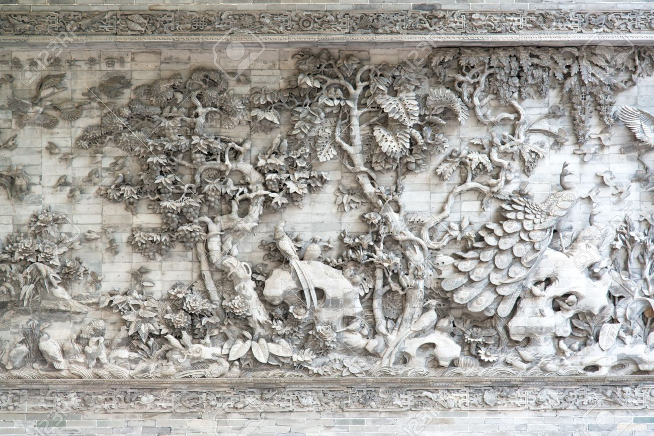 Chinese stone relief wall texture stock photo picture and royalty