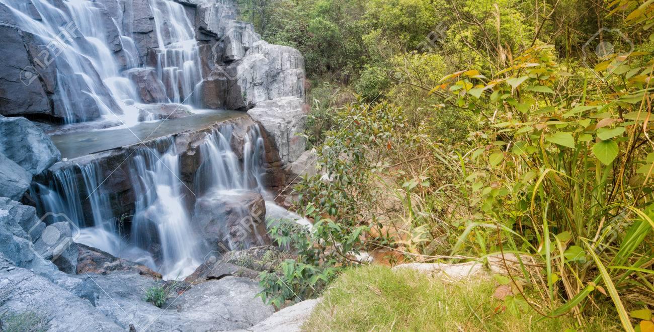 Beautiful Zen Garden Waterfall In Slow Shutter Stock Photo   24227740