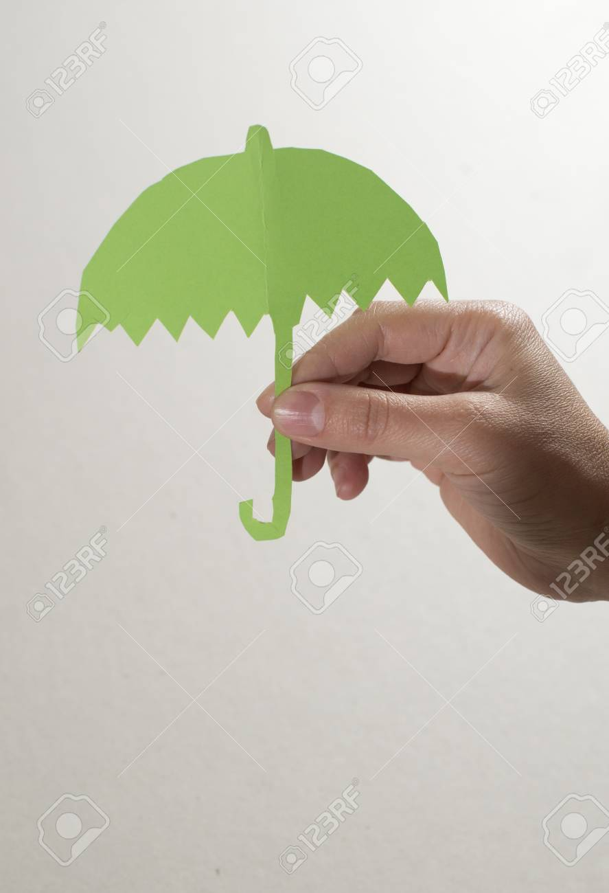 Object Of Umbrella Made Paper Cutout Stock Photo