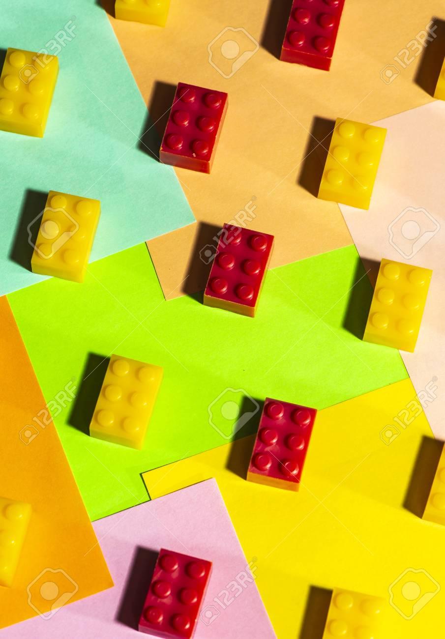 Plastic geometric cubes  Construction toys on geometric shapes