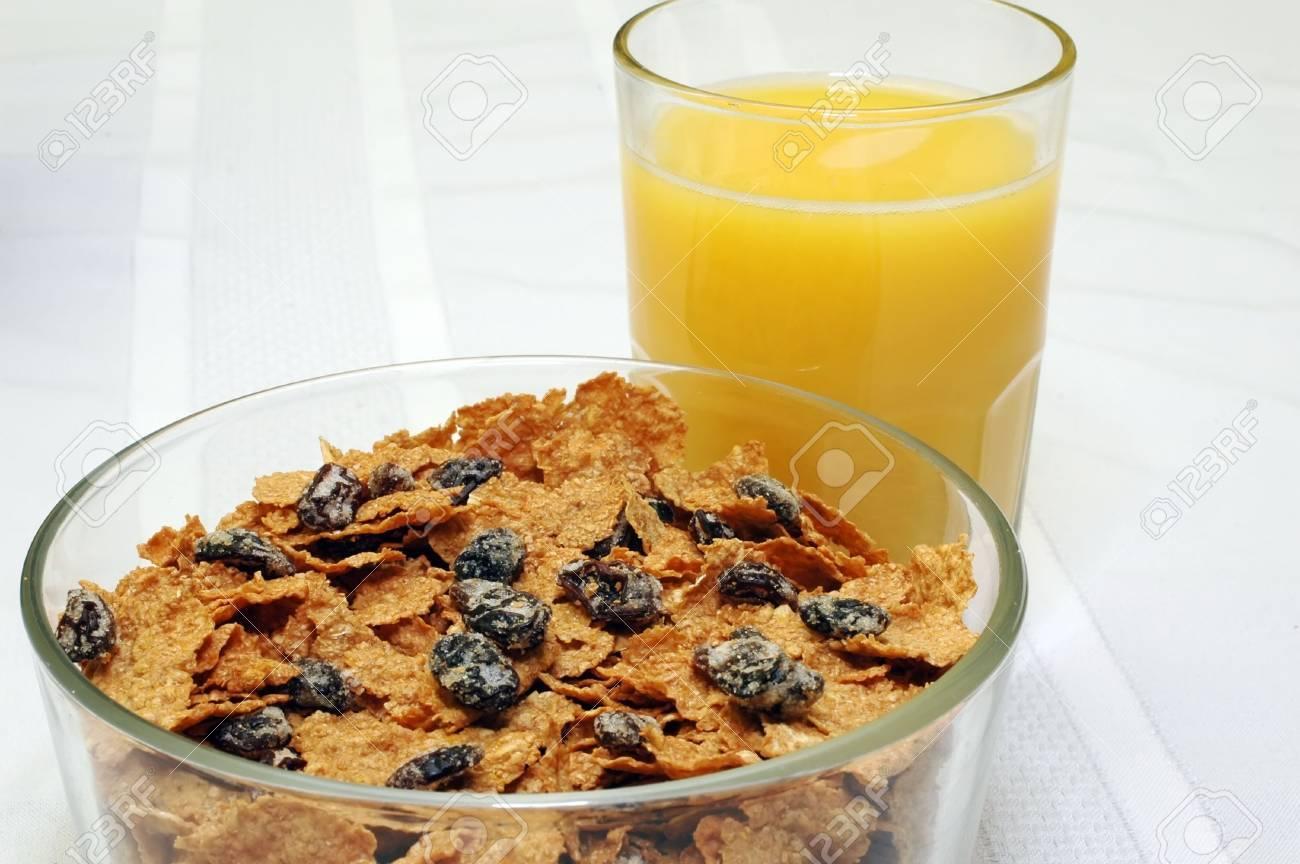 Raisin Bran and Orange Juice Stock Photo - 942573