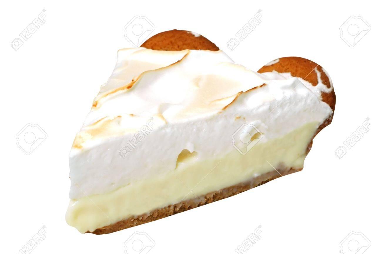 Zitronen Baiser Kuchen Auf Weissem Hintergrund Lizenzfreie Fotos
