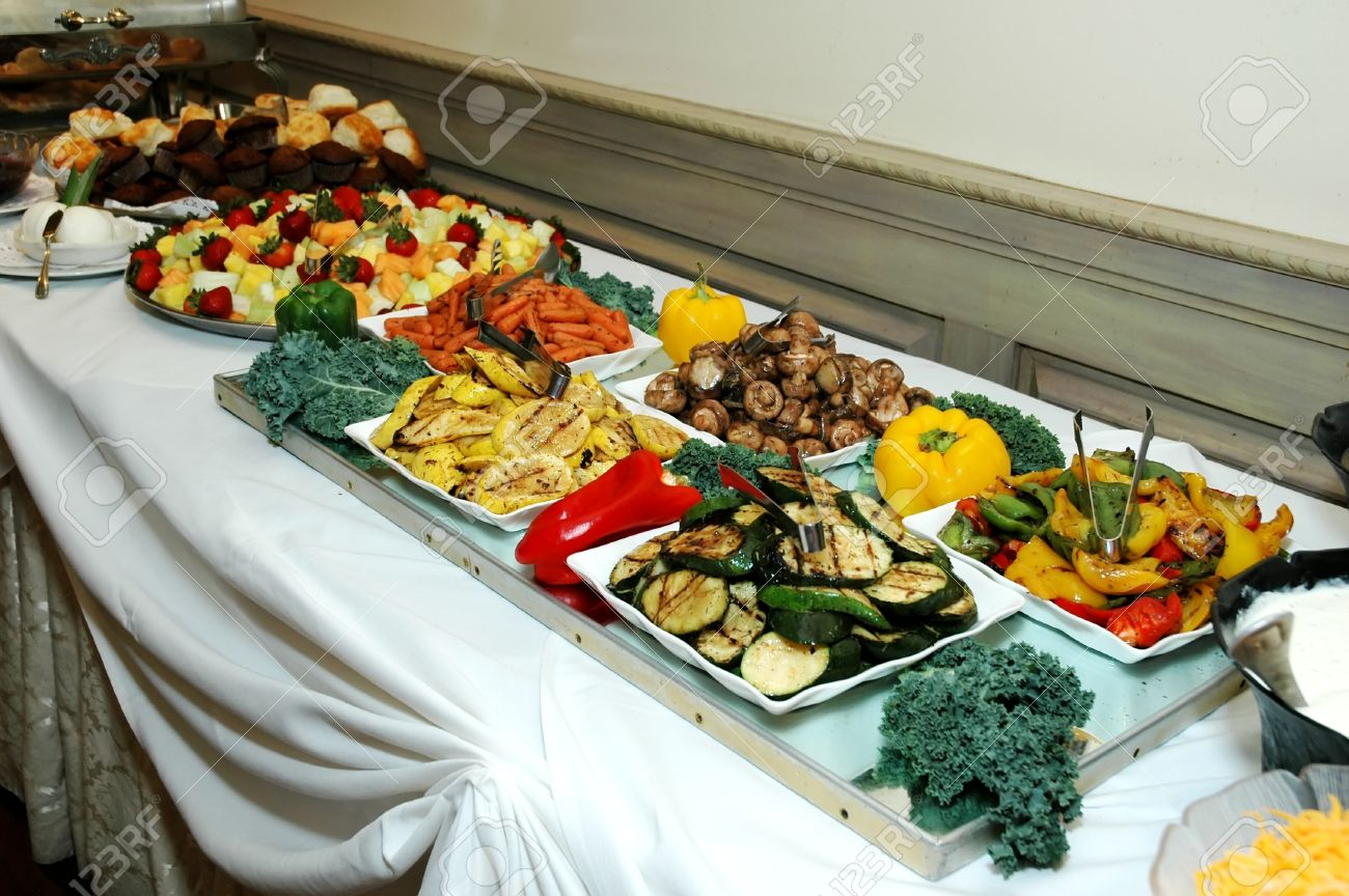 Buffet Table At Formal Occasion In Restaurant Stock Photo