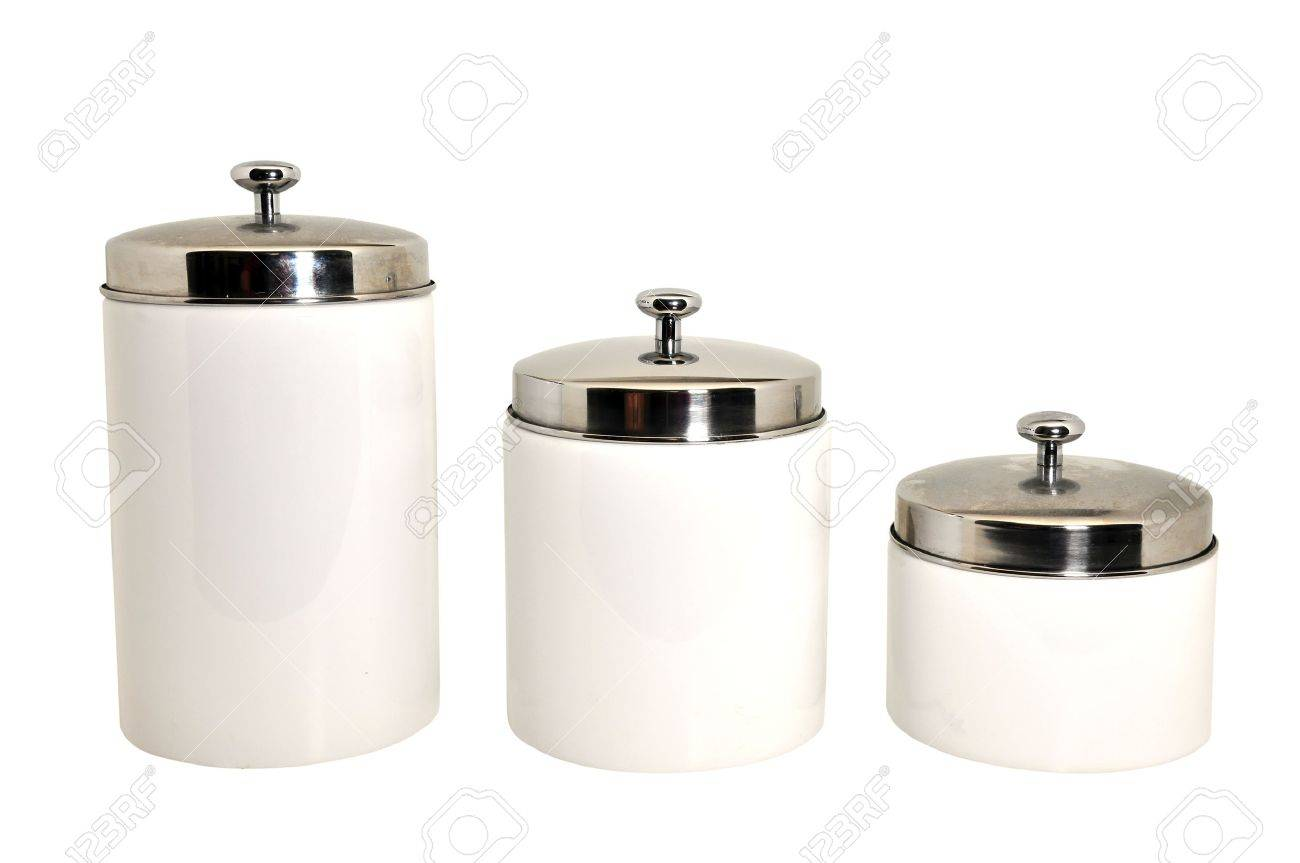 Set Of Three Kitchen Canisters Isolated On White Background Stock Photo Picture And Royalty Free Image Image 8825723
