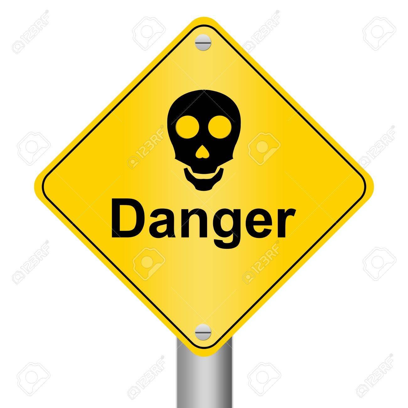 Skull Danger Sign Isolated on White Stock Photo - 13320553