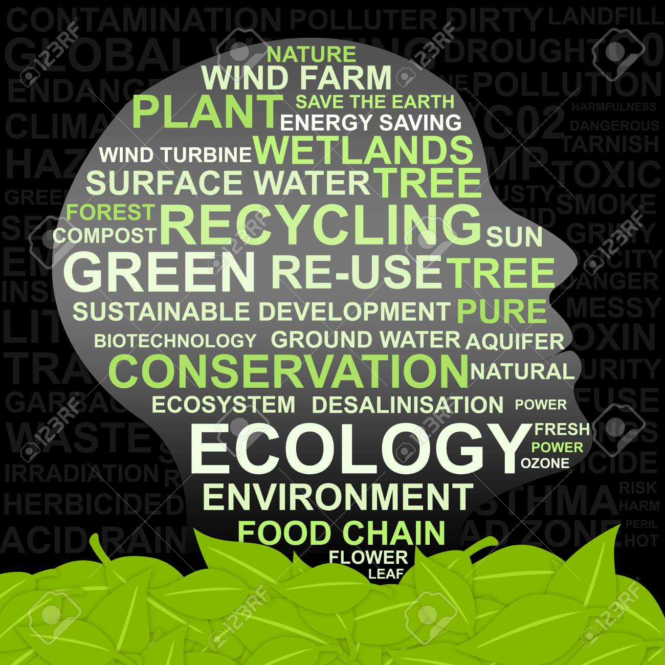 Idea Concept for Green - Abstract Image Made From Words Which Relate With Green, Ecology and Conservation Keyword Stock Photo - 13501526