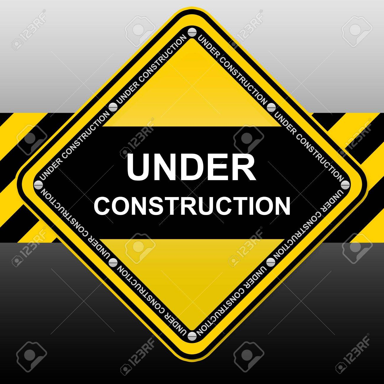 Yellow and Black Under Construction Sign Stock Photo - 14590025
