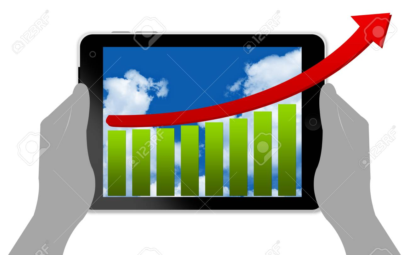 Business Concept With Bar Chart and Arrow in Tablet PC Screen Isolated on White Stock Photo - 14605043