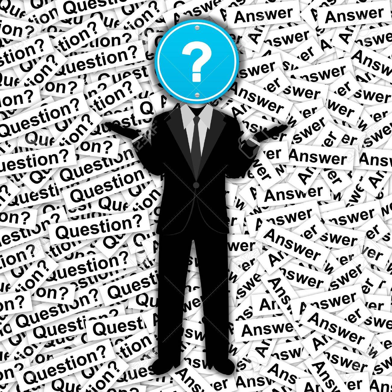 The Man With Blue Question Mark Road Sign Head Stand On Many.. Stock ...