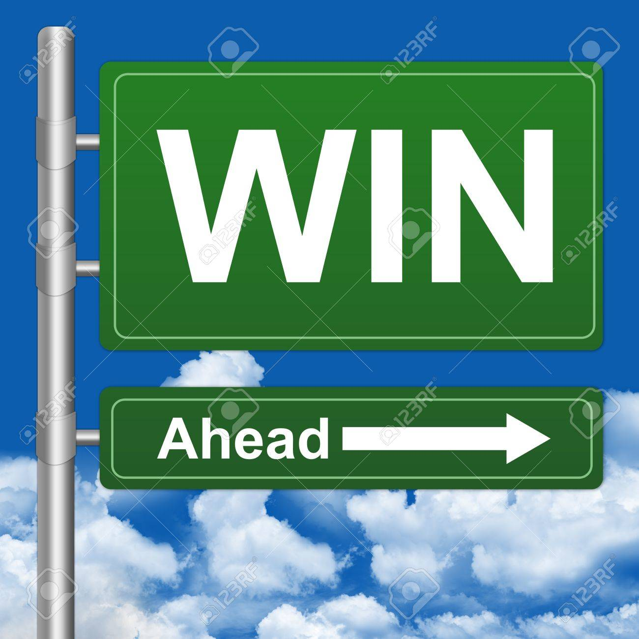 Stock Photo  Win Ahead Highway Street Sign on Blue Sky Background Stock Photo - 14670860