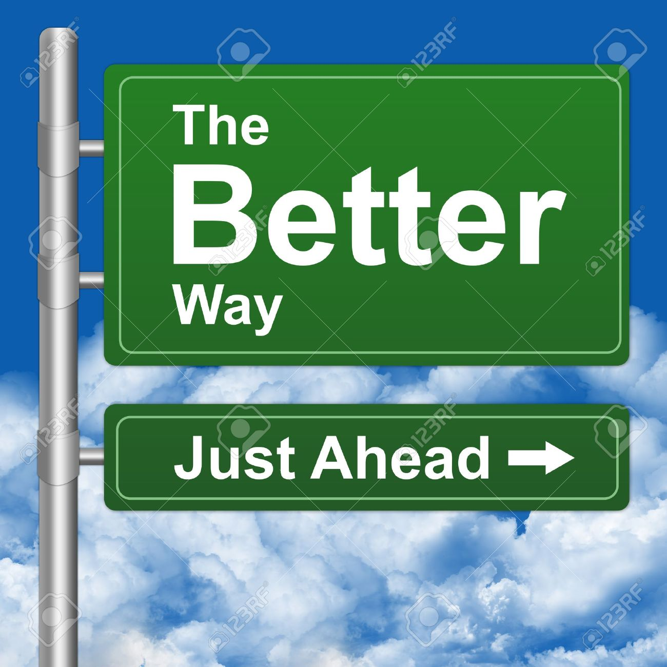 Better Way Just Ahead Highway Street Sign With Blue Sky Background Stock Photo - 14669802