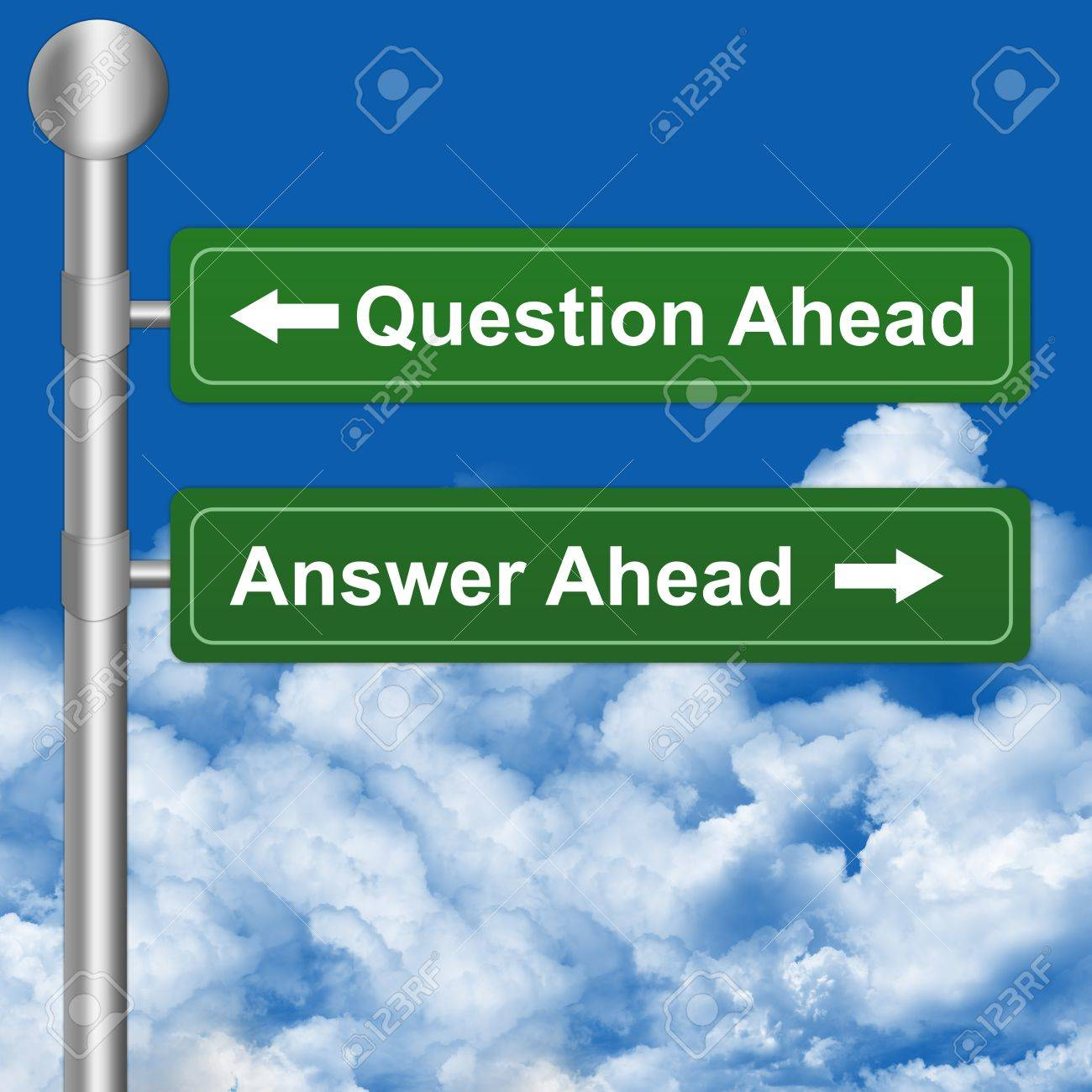 2 Choices With Question Ahead or Answer Ahead Highway Street Sign Stock Photo - 14670932