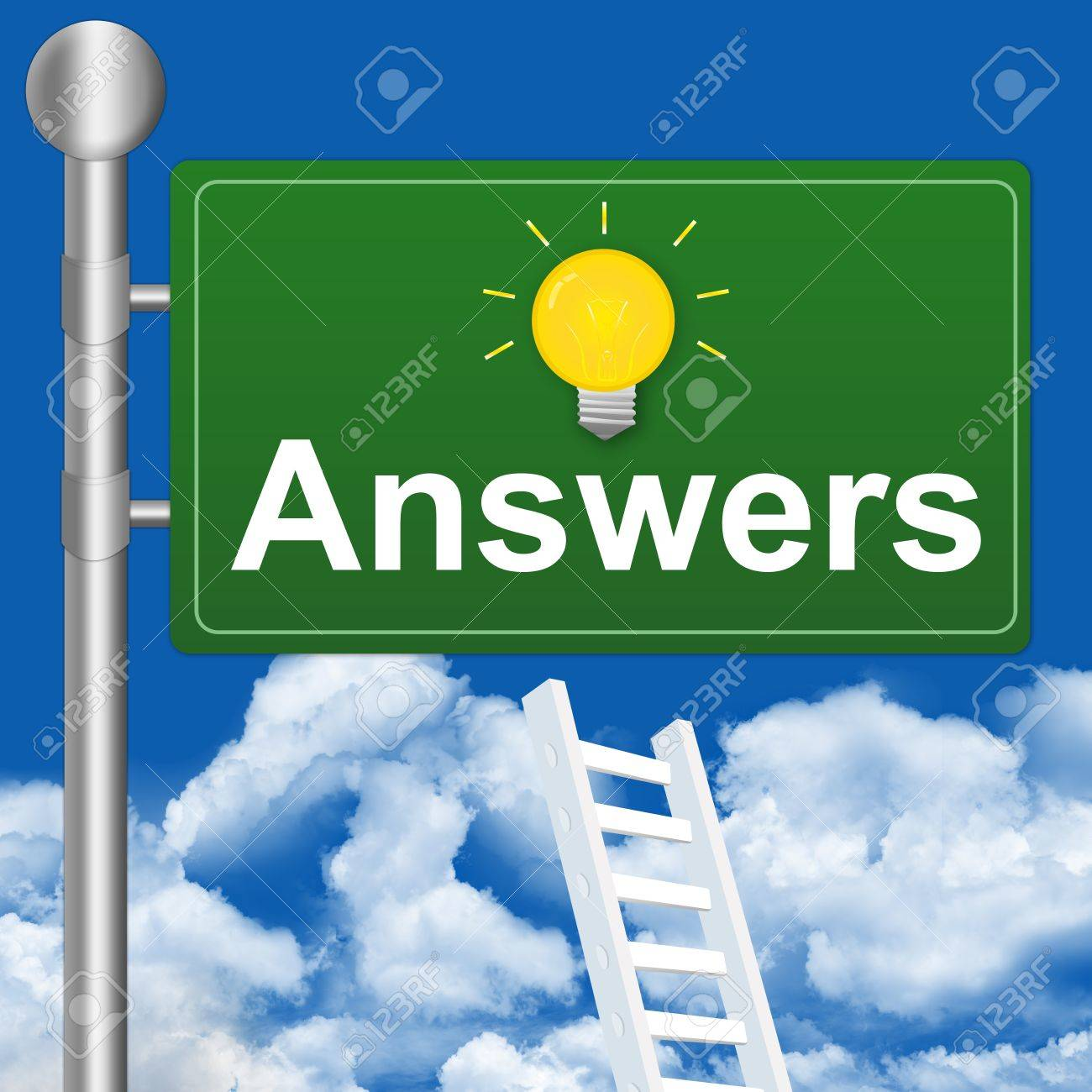 Answer With Light Bulb on Highway Street Sign Stock Photo - 14670955