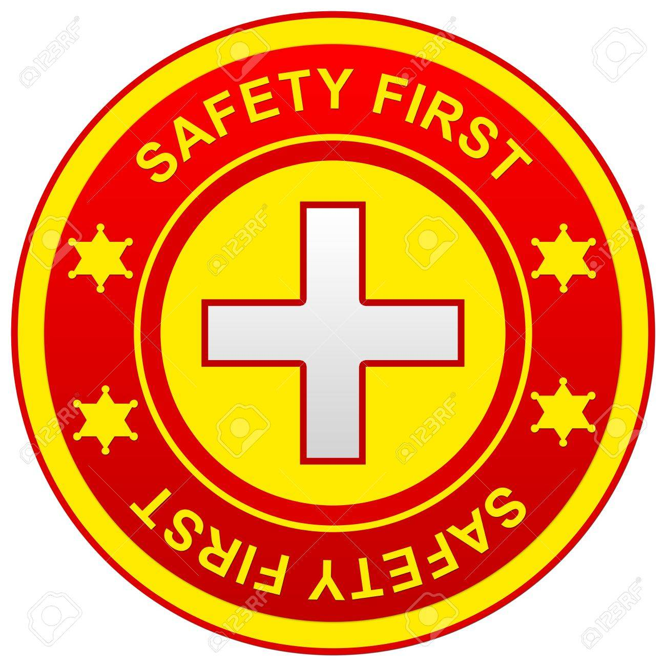 The Yellow and Red Circle Safety First Sign Isolated on White Background Stock Photo - 14670941