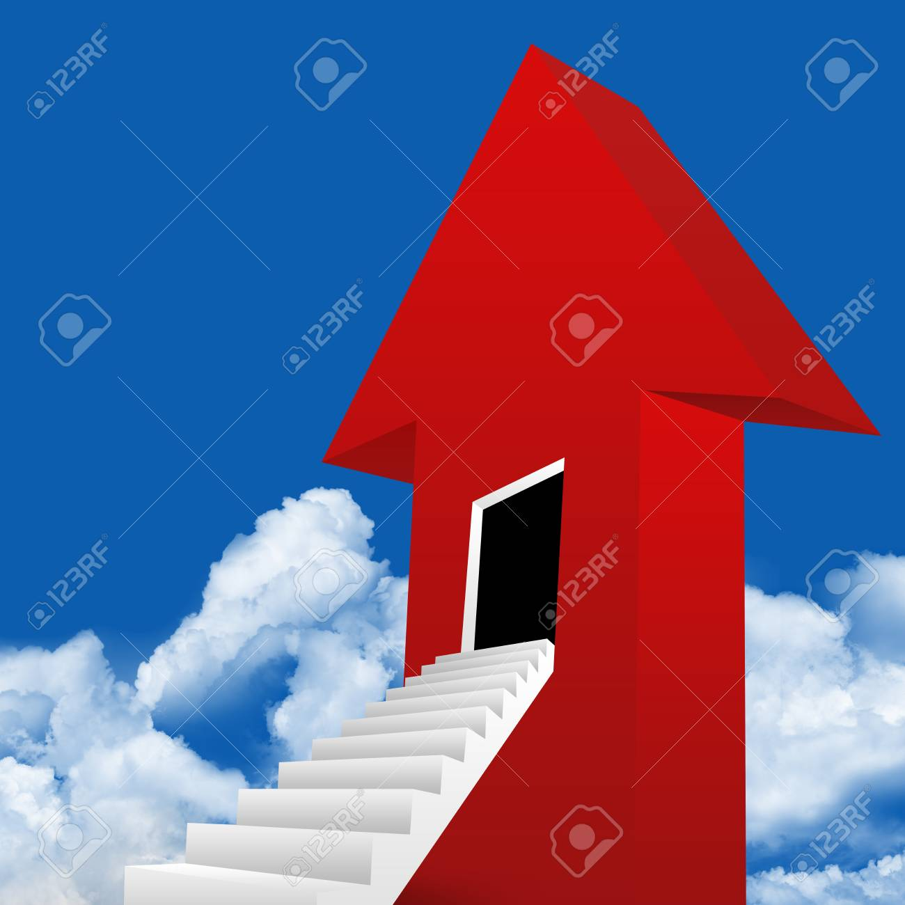 3D Image of Stairway to Success With Blue Sky Background, Business Concept Stock Photo - 14687241