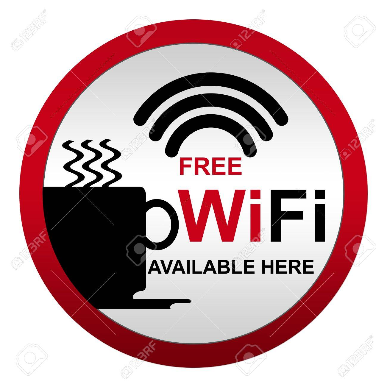 Free WiFi Available Here With Coffee Cup Icon in Circle Metal Style Icon Isolate on White Background Stock Photo - 14687002